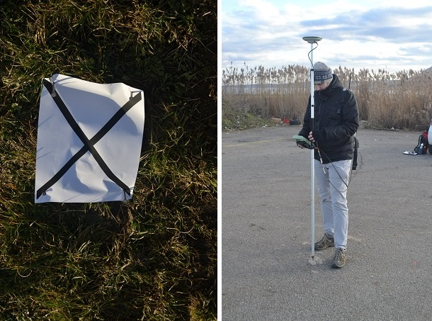 Split picture: Calibration landmark, Jiří Apeltauer holding the gps receiver
